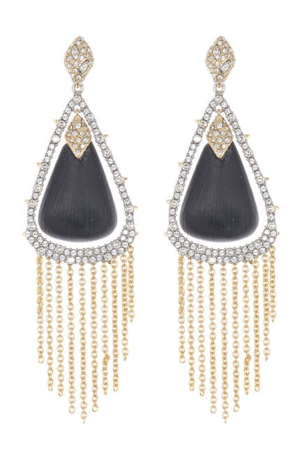 Image of Alexis Bittar Crystal Encrusted Chain Fringe Drop Earrings
