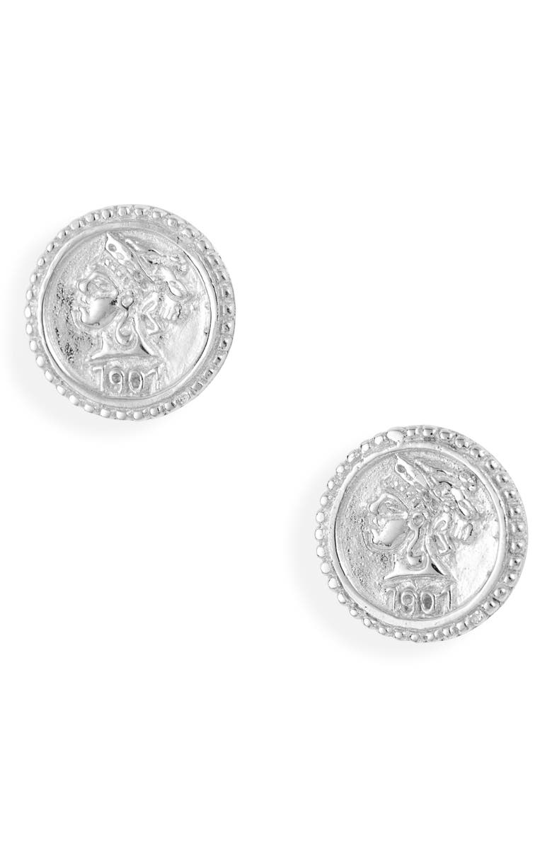 STERLING FOREVER Crown Jewel Coin Stud Earrings, Main, color, SILVER