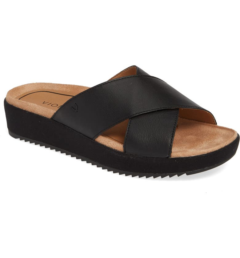 VIONIC Hayden Wedge Slide Sandal, Main, color, BLACK LEATHER