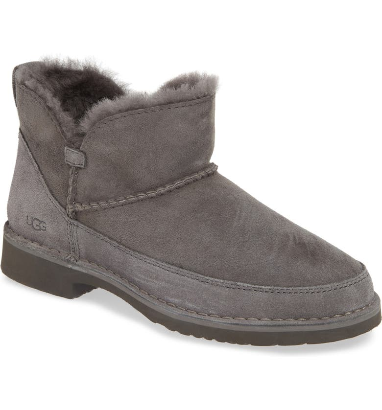 UGG<SUP>®</SUP> Melrose Genuine Shearling Bootie, Main, color, CHARCOAL