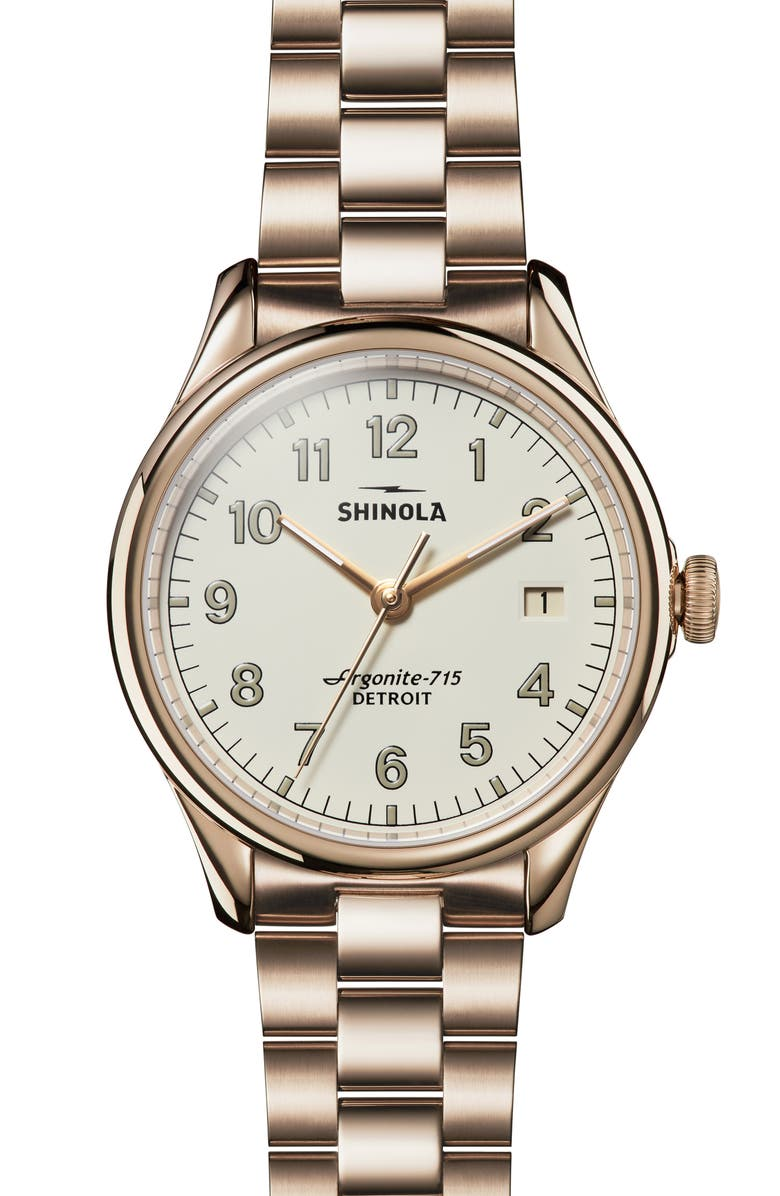 SHINOLA The Vinton Bracelet Watch, 38mm, Main, color, GOLD/ IVORY/ GOLD