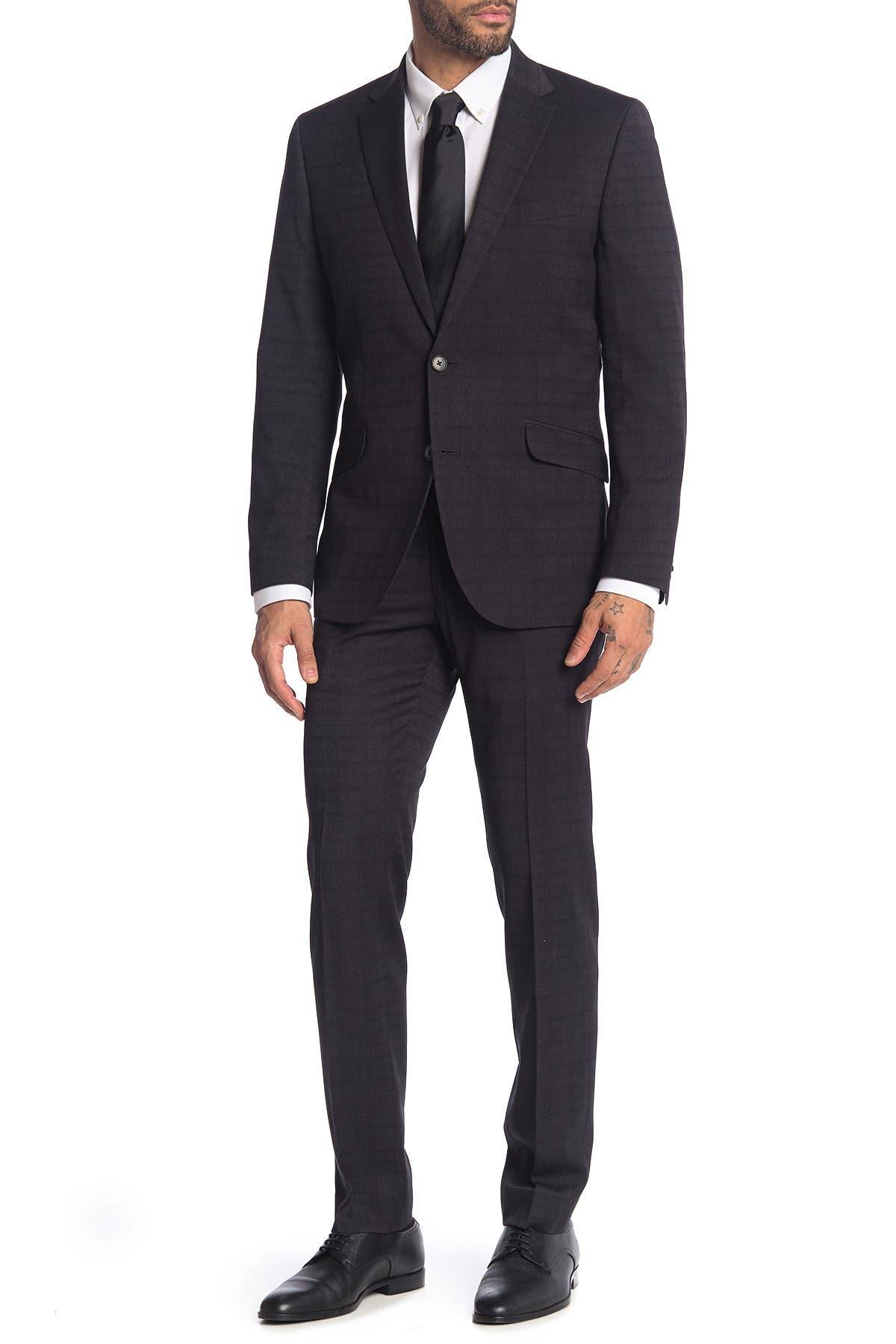 Image of Kenneth Cole Reaction Gray Plaid Print 2-Piece Trim Fit Suit
