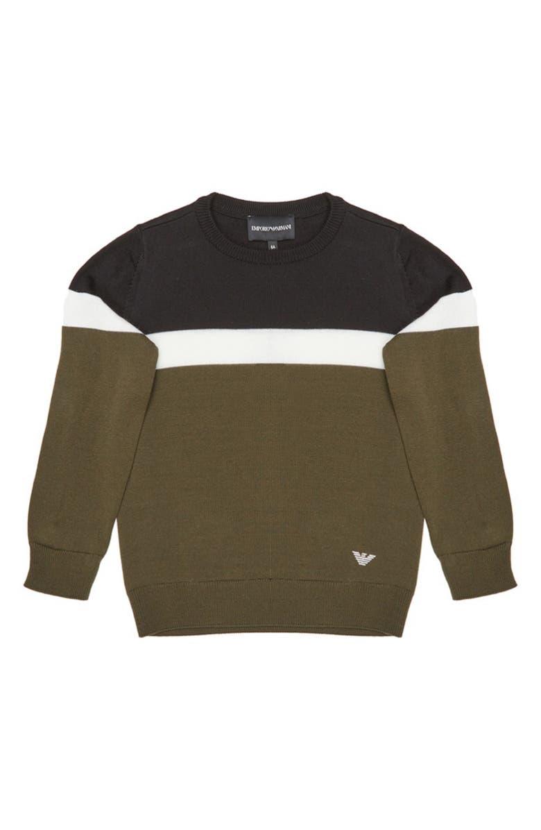ARMANI JUNIOR Colorblock Wool Blend Sweater, Main, color, GREEN/ WHITE/ BLACK