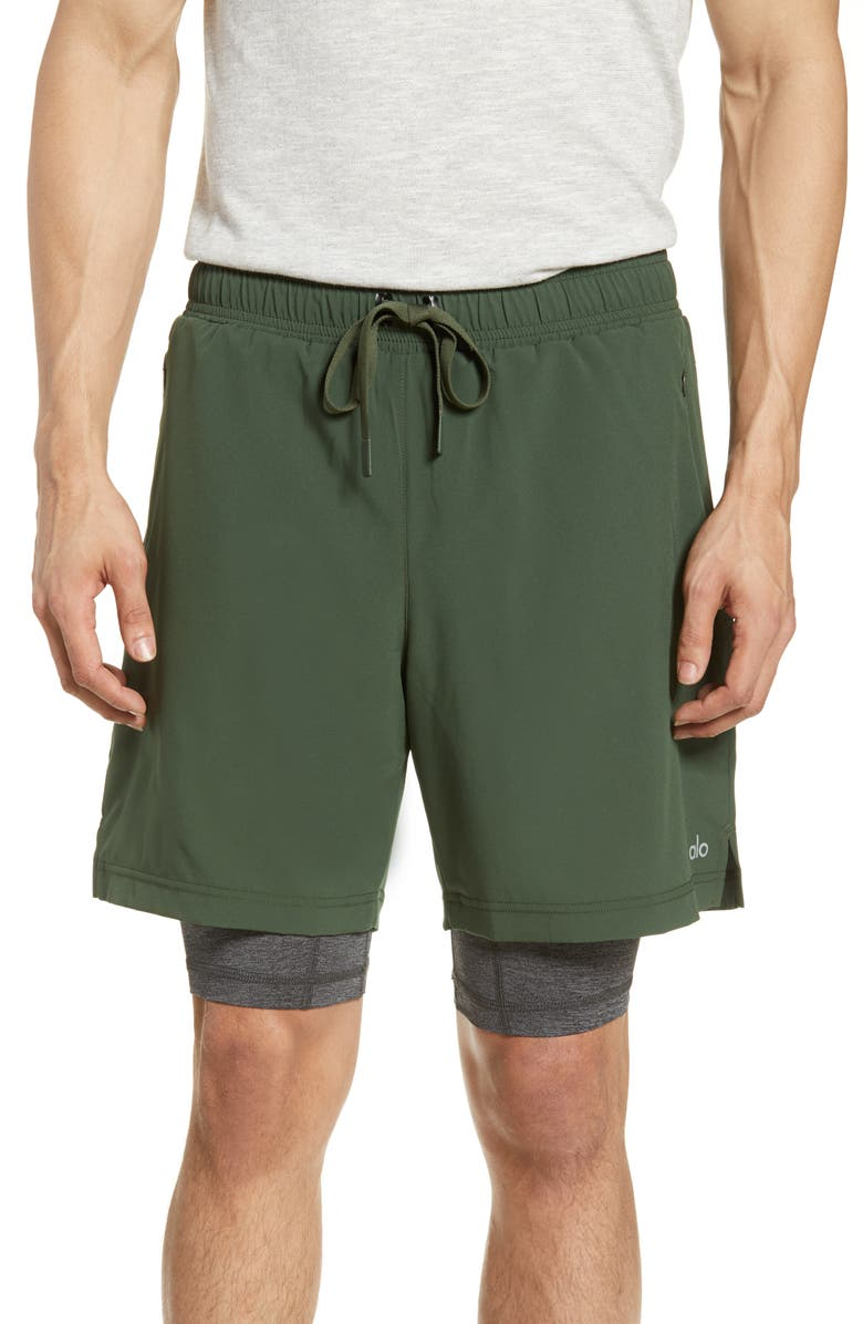 ALO Unity 2-in-1 Shorts, Main, color, HUNTER/DARK GREY MARL