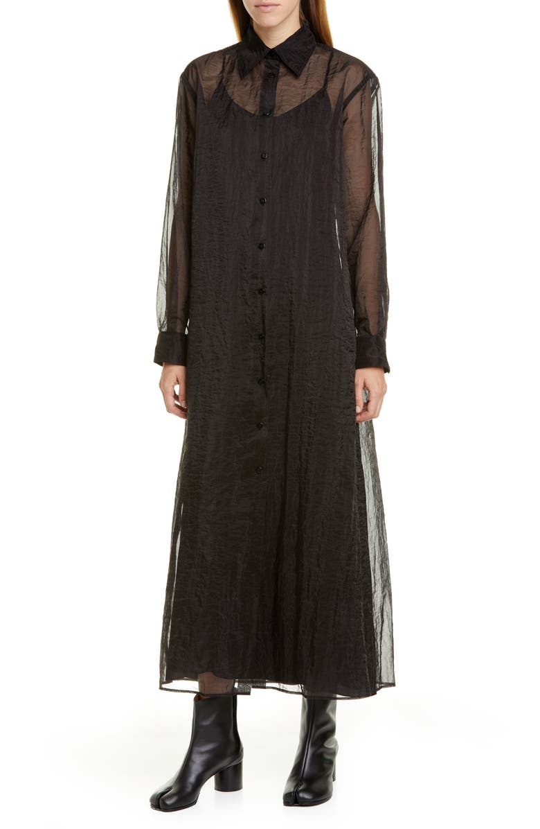 MAISON MARGIELA Long Sleeve Sheer Organza Maxi Shirtdress, Main, color, BLACK