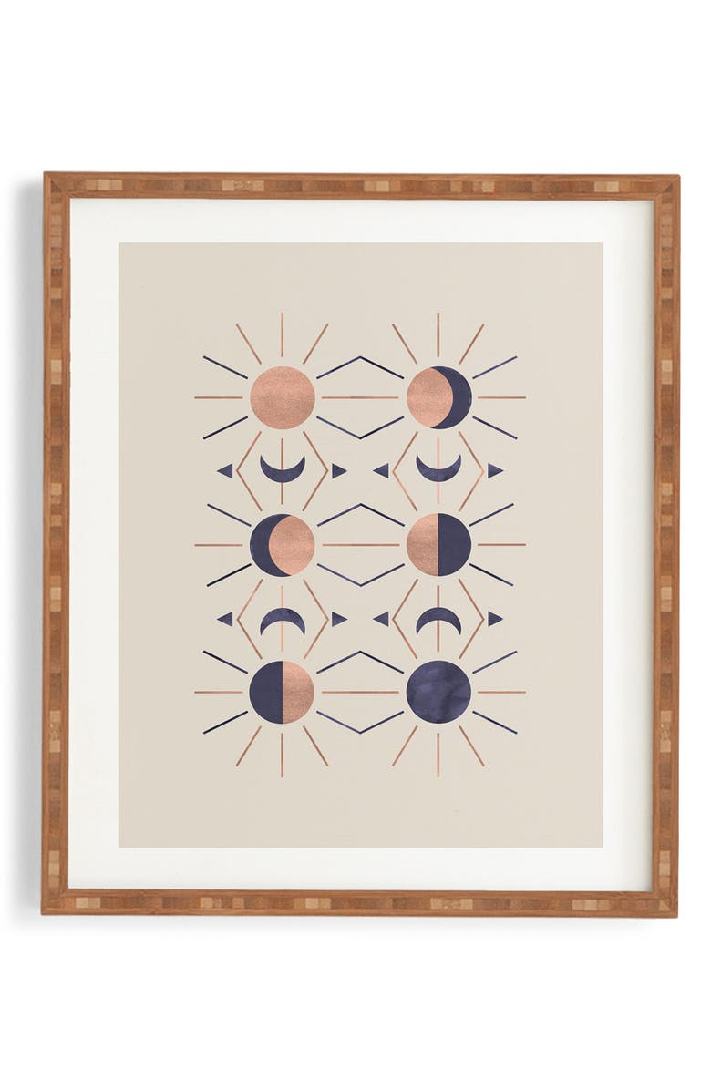 DENY DESIGNS Moon & Sun Rose Gold Framed Wall Art, Main, color, BROWN