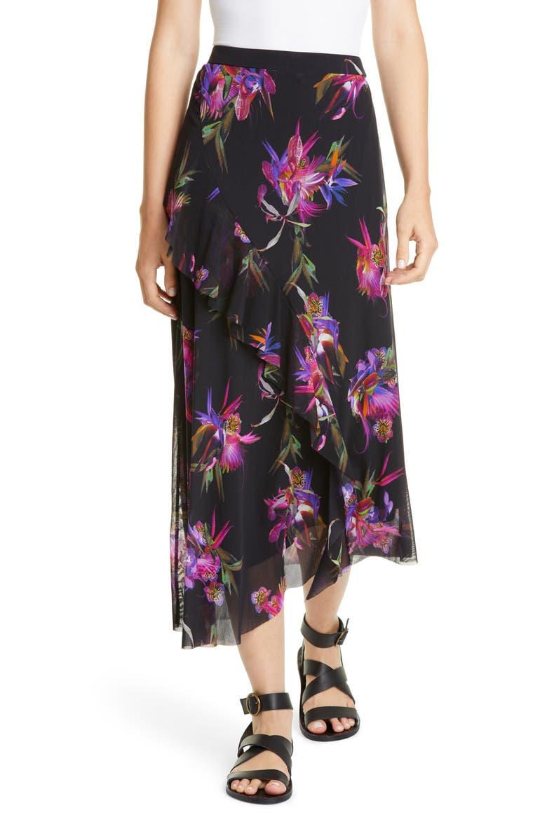 FUZZI Floral Ruffle Asymmetrical Midi Skirt, Main, color, NERO