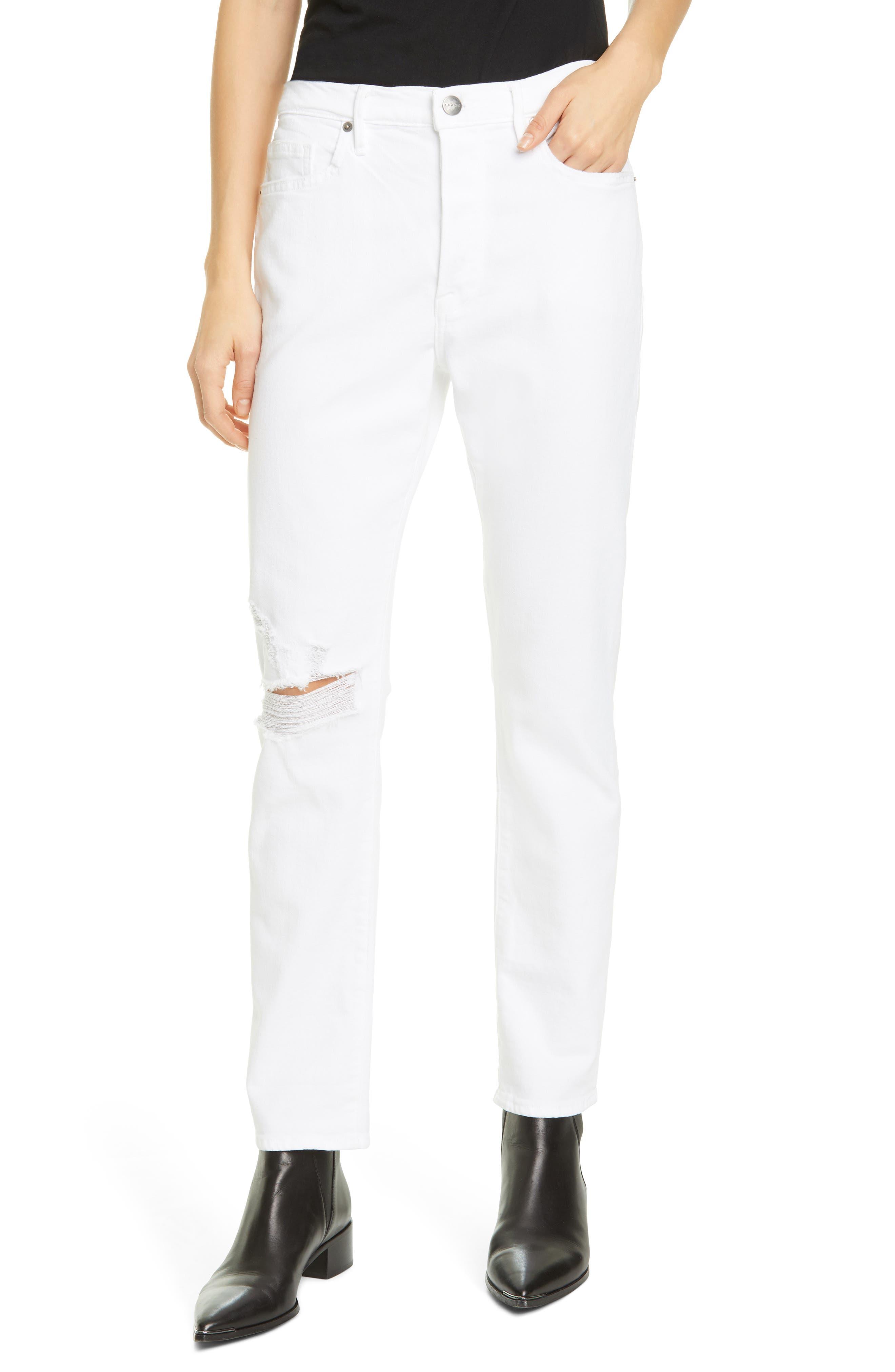 FRAME Le Beau Ripped Straight Leg Boyfriend Jeans (Blanc Drive Rips) | Nordstrom