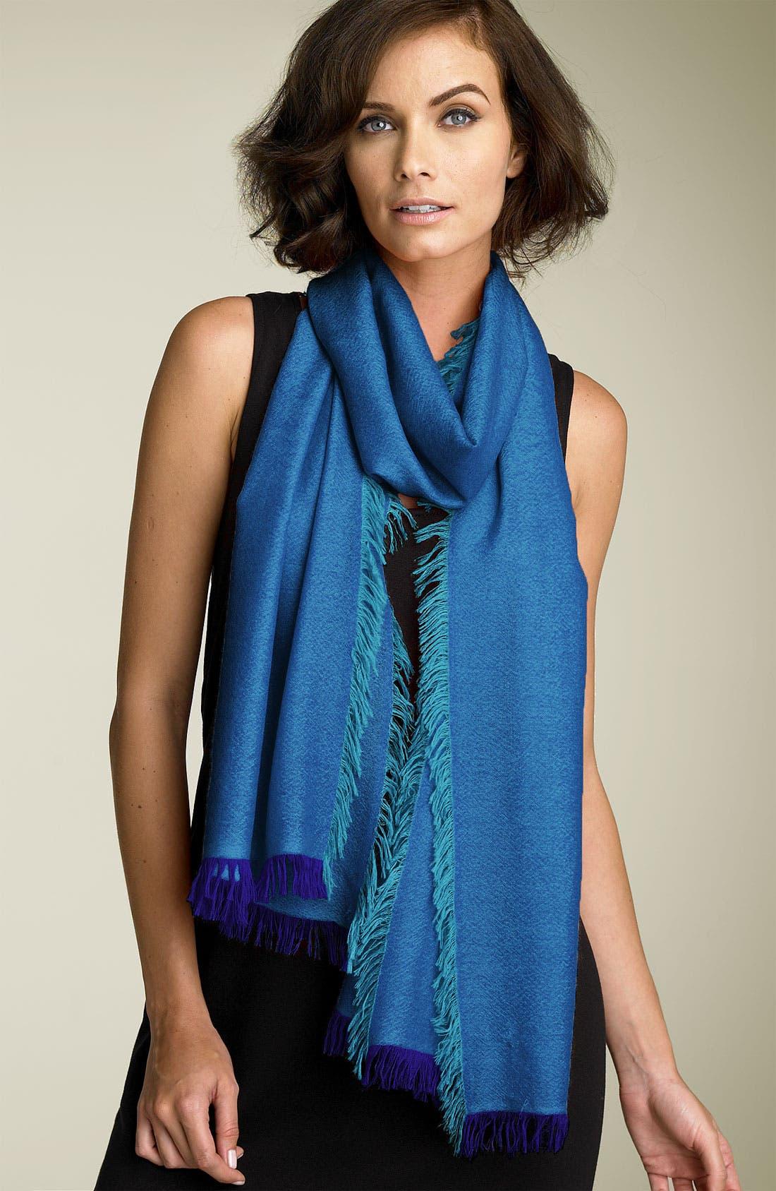 ,                             'Eyelash' Colorblock Cashmere Wrap,                             Main thumbnail 55, color,                             461