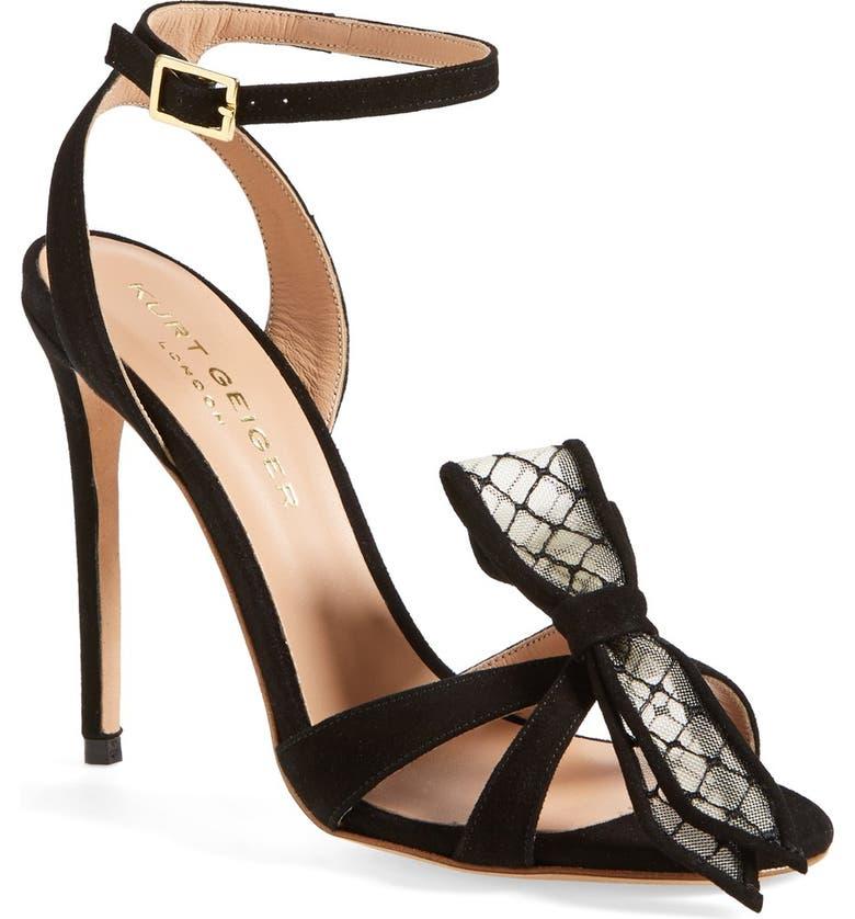 KURT GEIGER LONDON 'Maia' Bow Sandal, Main, color, 001