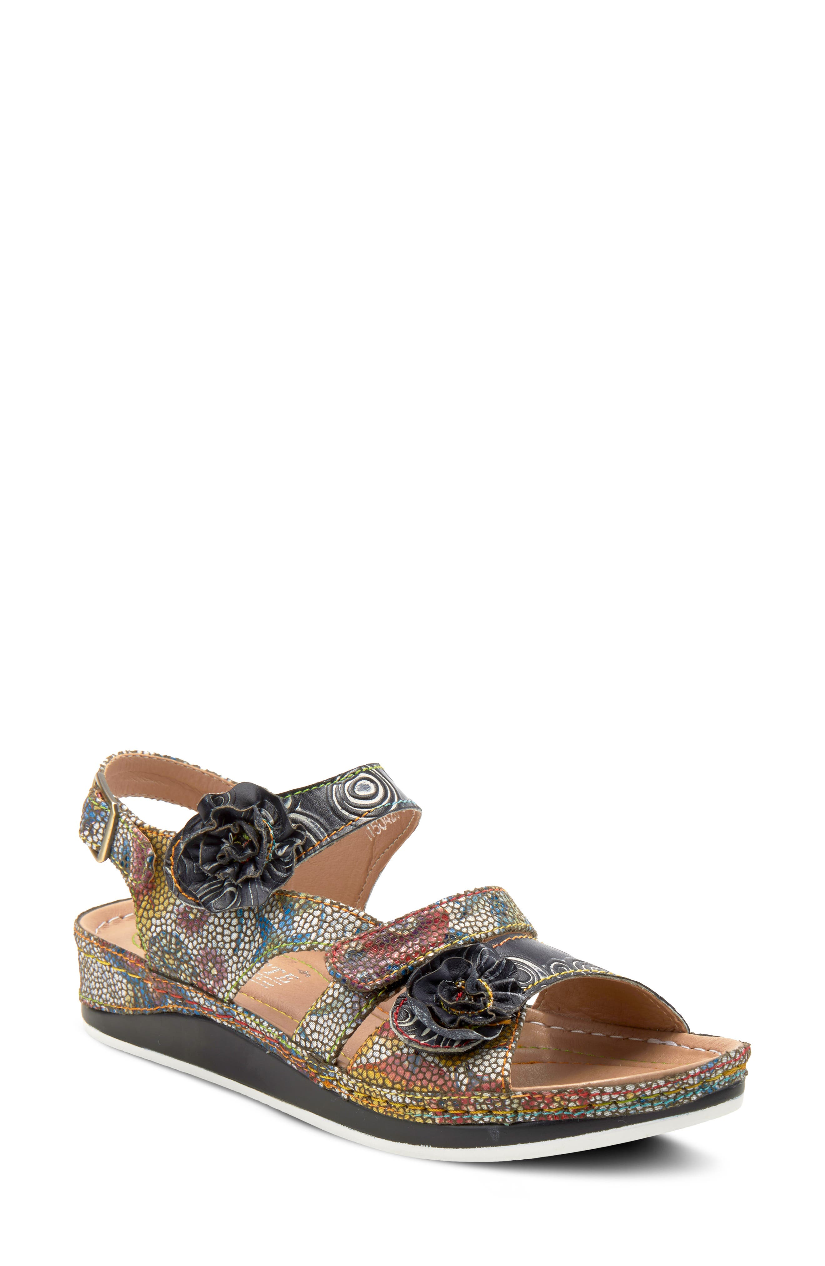 Dimensional blossoms beautifully complement the French-inspired floral mosiac design detailing the straps of a wedge sandal fitted with a cushioned footbed. Style Name:L\\\'Artiste Joelina Sandal (Women). Style Number: 5980704. Available in stores.