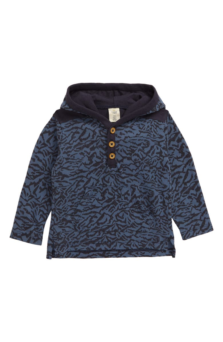 TUCKER + TATE Print Henley Hoodie, Main, color, BLUE CHINOISE SKETCH COLLAGE