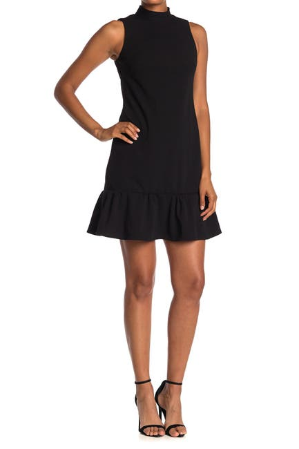 Image of Calvin Klein Mock Neck Sleeveless Ruffled Mini Dress