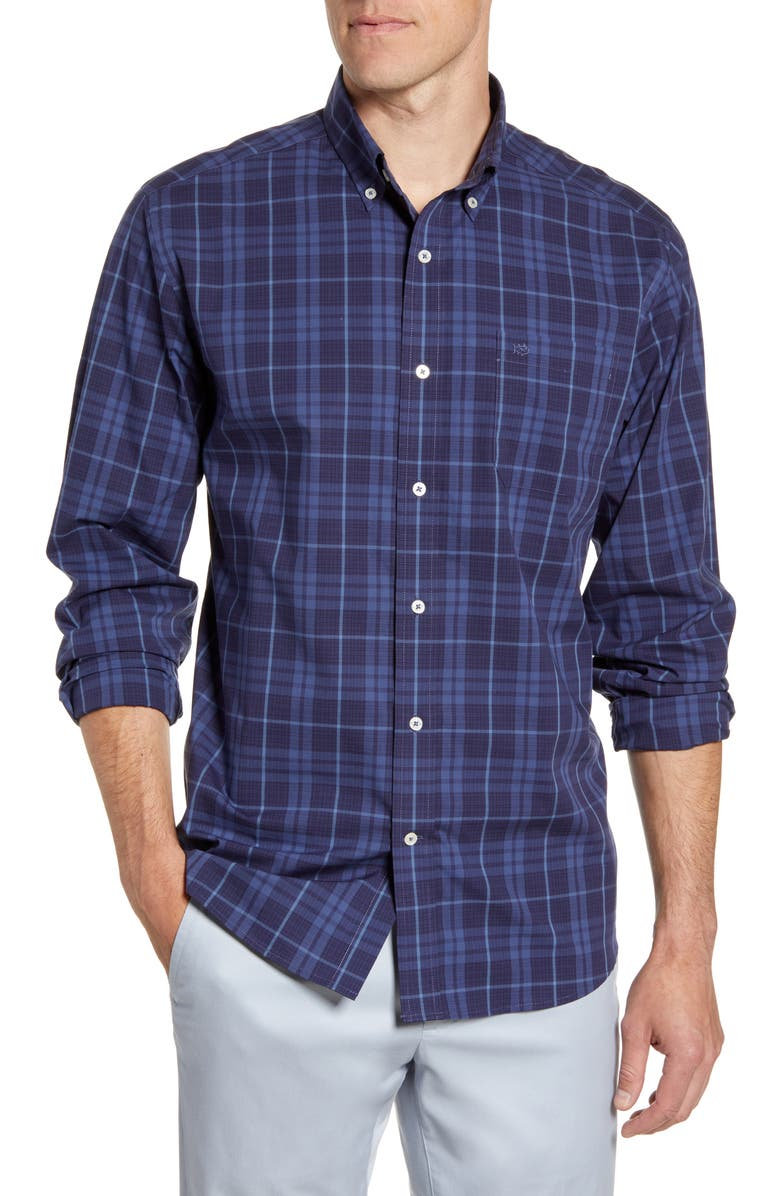 SOUTHERN TIDE Mainmast Regular Fit Plaid Button-Down Sport Shirt, Main, color, OVER SEA BLUE