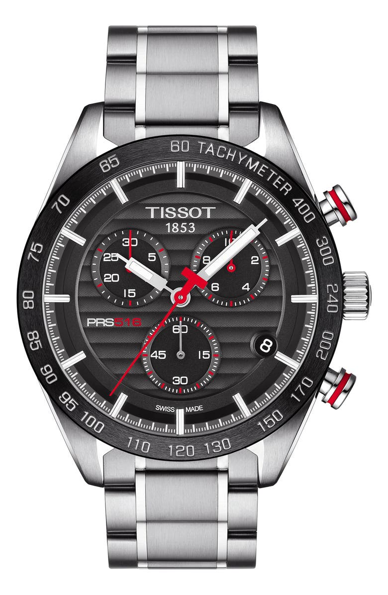 TISSOT PRS516 Chronograph Bracelet Watch, 42mm, Main, color, SILVER/ BLACK/ SILVER