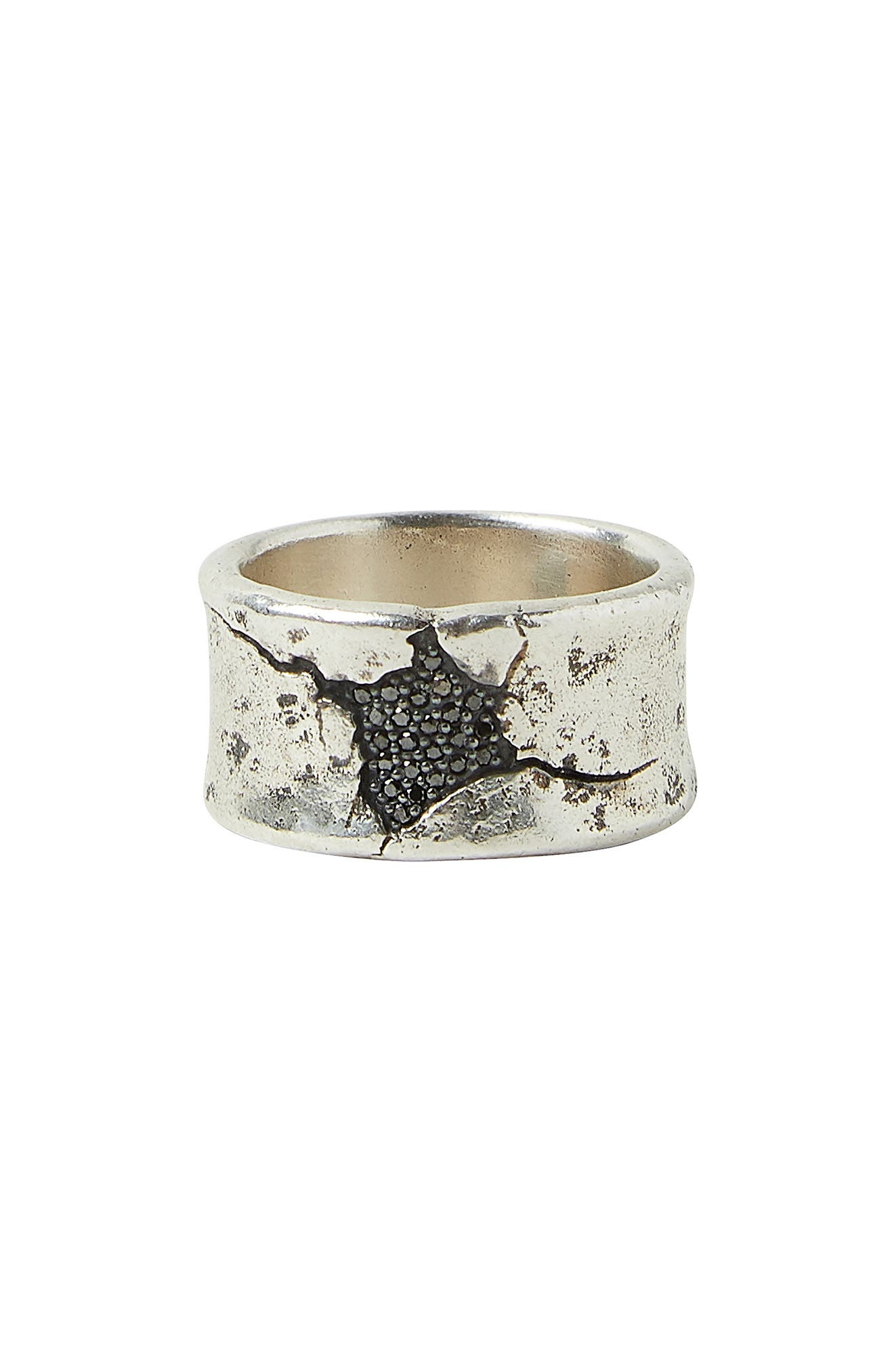 Women's John Varvatos Sterling Silver & Black Diamond Ring