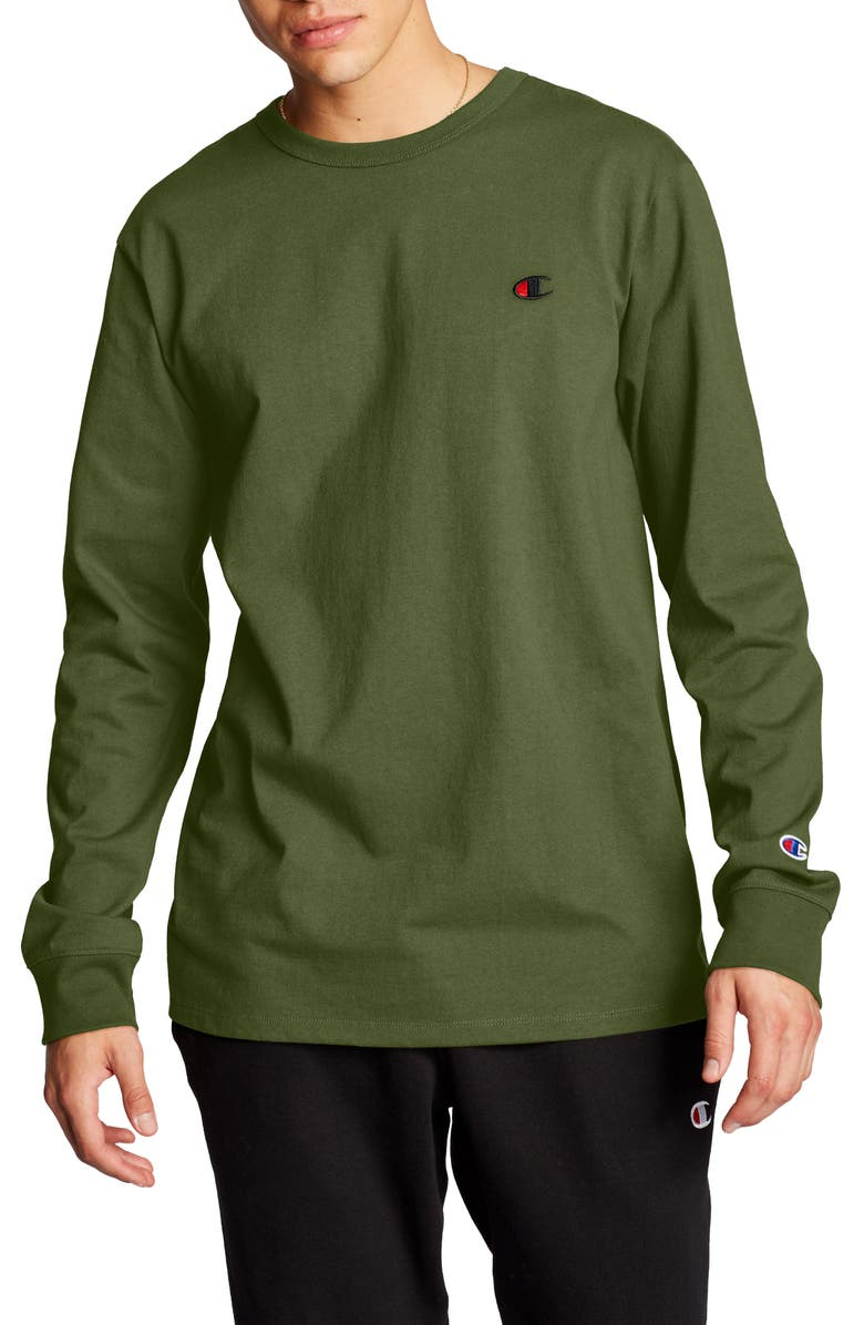 CHAMPION Heritage Block Arch Long Sleeve T-Shirt, Main, color, CARGO OLIVE