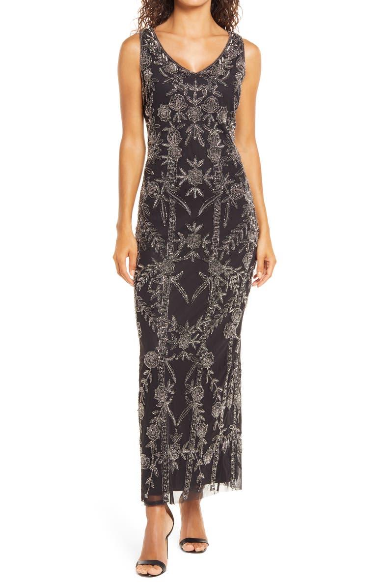 PISARRO NIGHTS Beaded Mesh Gown, Main, color, BLACK/MERCURY
