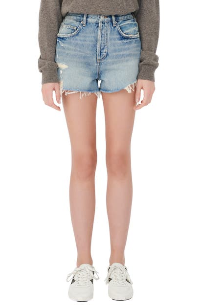 Maje DISTRESSED CUTOFF DENIM SHORTS