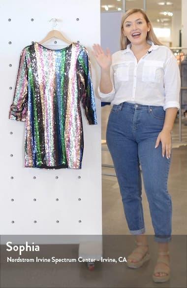 Over the Rainbow Sequin Stripe Long Sleeve Minidress, sales video thumbnail