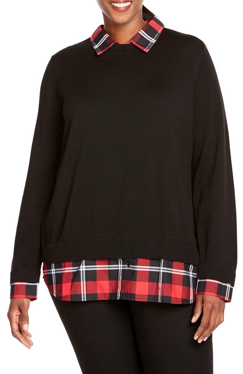 FOXCROFT Shoshana Layered Look Sweater, Main, color, BLACK