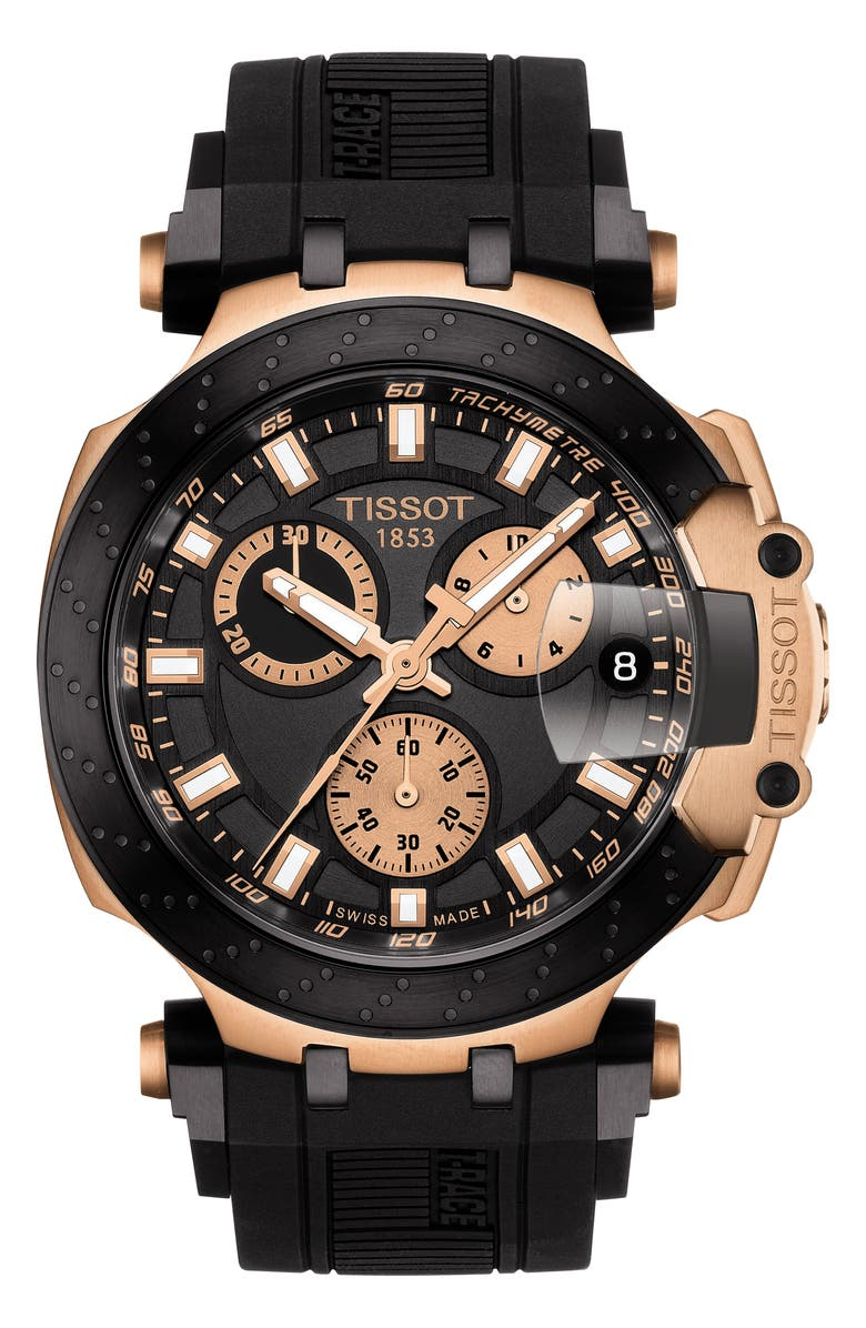 TISSOT T-Race Chronograph Silicone Strap Watch, 48mm, Main, color, BLACK/ ROSE GOLD