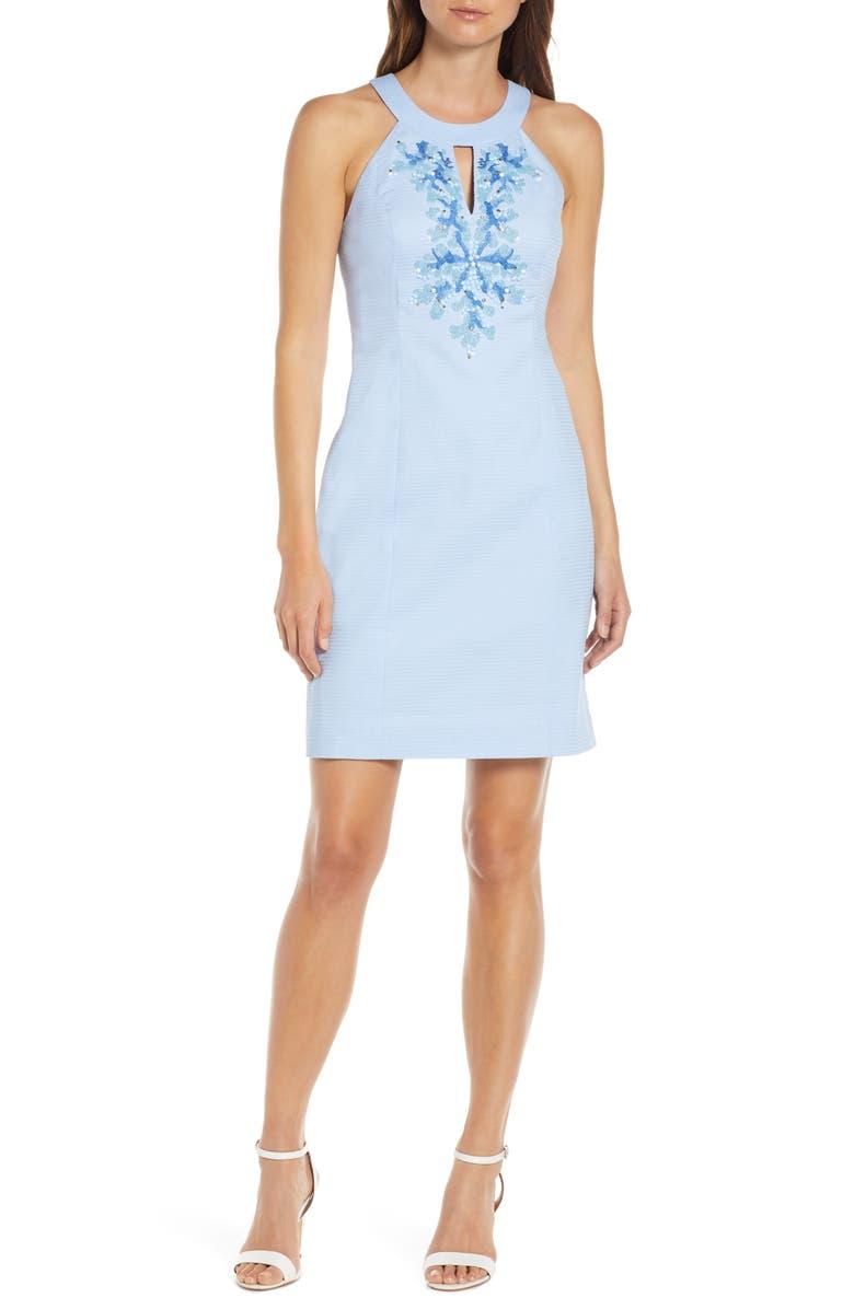 LILLY PULITZER<SUP>®</SUP> Jena Beaded Sheath Dress, Main, color, BLUE PERI TINK