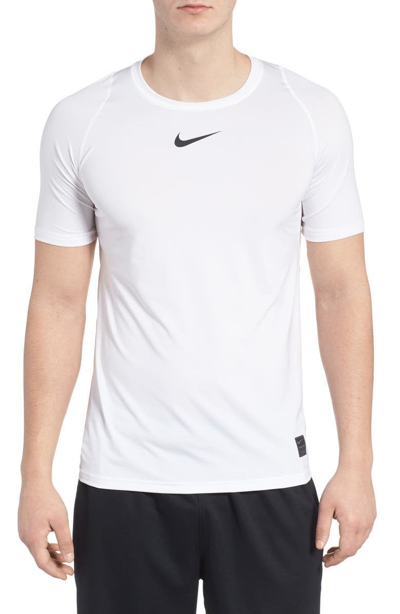 NIKE Pro Fitted T-Shirt, Main, color, WHITE/BLACK/BLACK