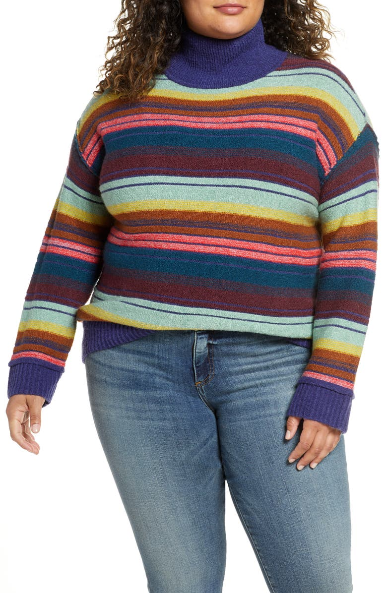 CASLON<SUP>®</SUP> Mock Neck Stripe Sweater, Main, color, BLUE JONI STRIPE