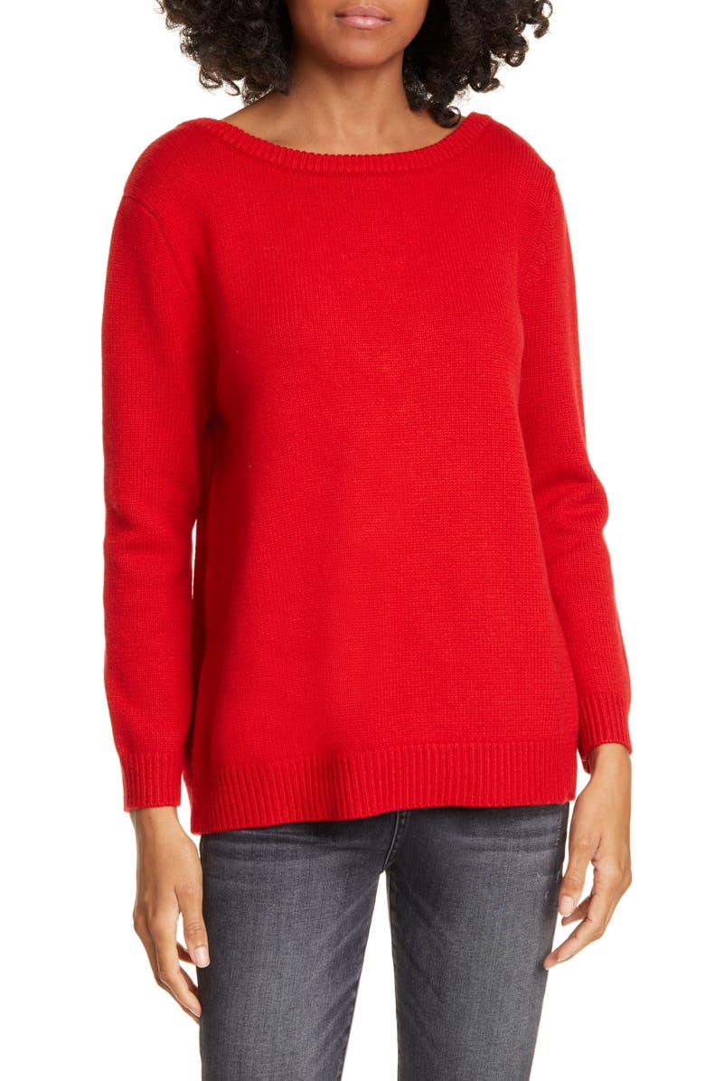 BA&SH Oia Jewel Detail Wool & Cashmere Sweater, Main, color, ROUGE