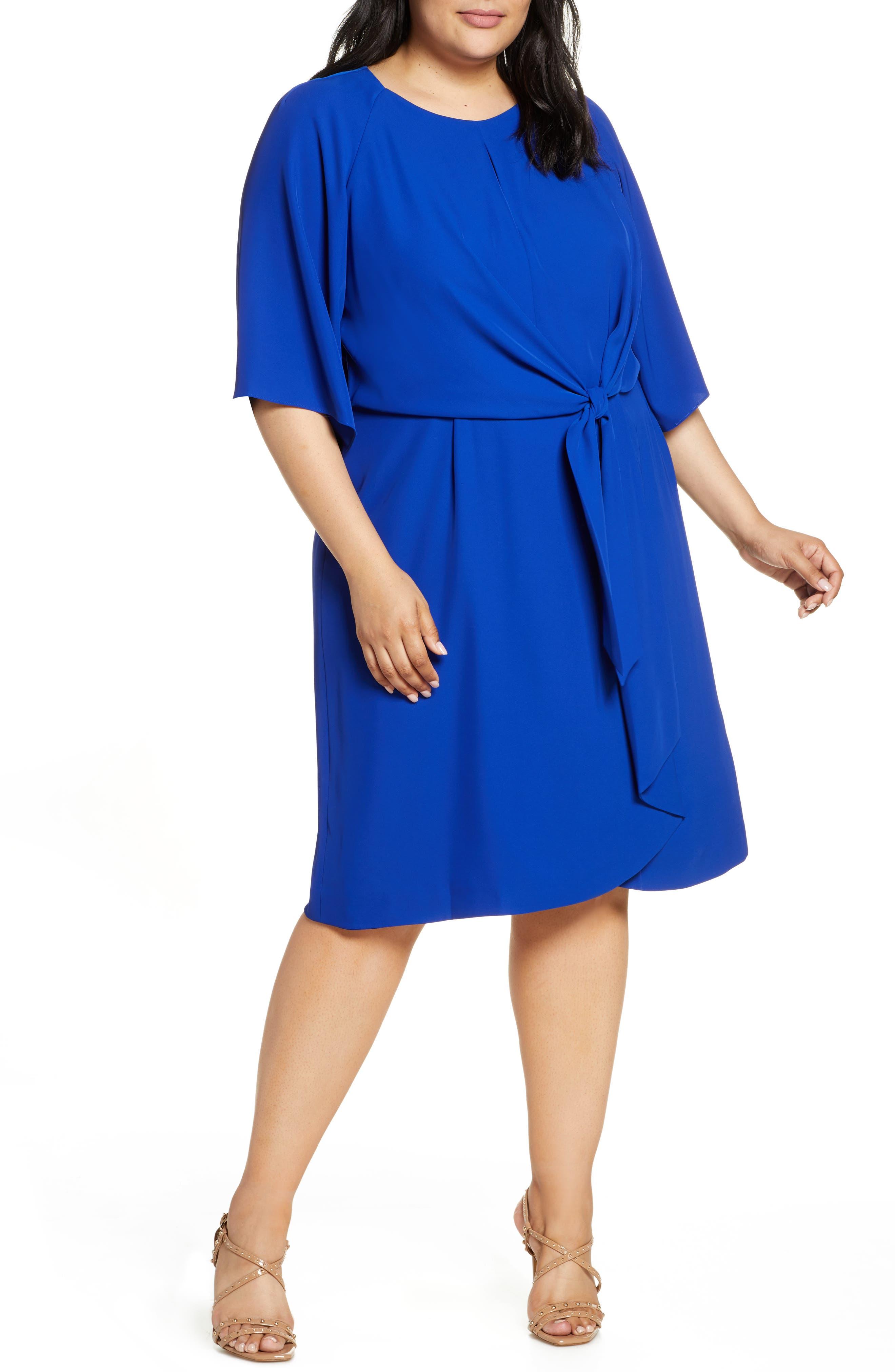plus size women's tahari tie front stretch crepe shift dress