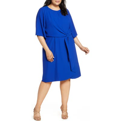 Plus Size Tahari Tie Front Stretch Crepe Shift Dress, Blue