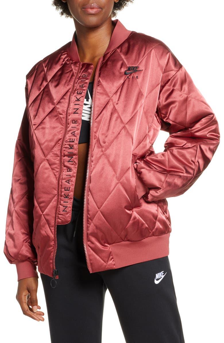 NIKE Logo Diamond Quilted Satin Jacket, Main, color, CEDAR/ TEAM ORANGE/ BLACK