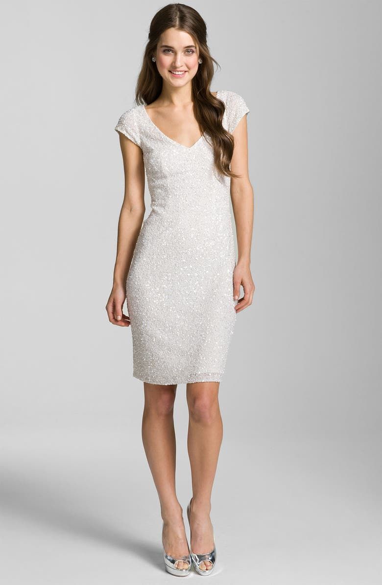 THEIA V-Neck Sequin Sheath Dress, Main, color, 100