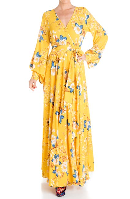 Image of Meghan LA Lilypad Long Sleeve Wrap Maxi Dress