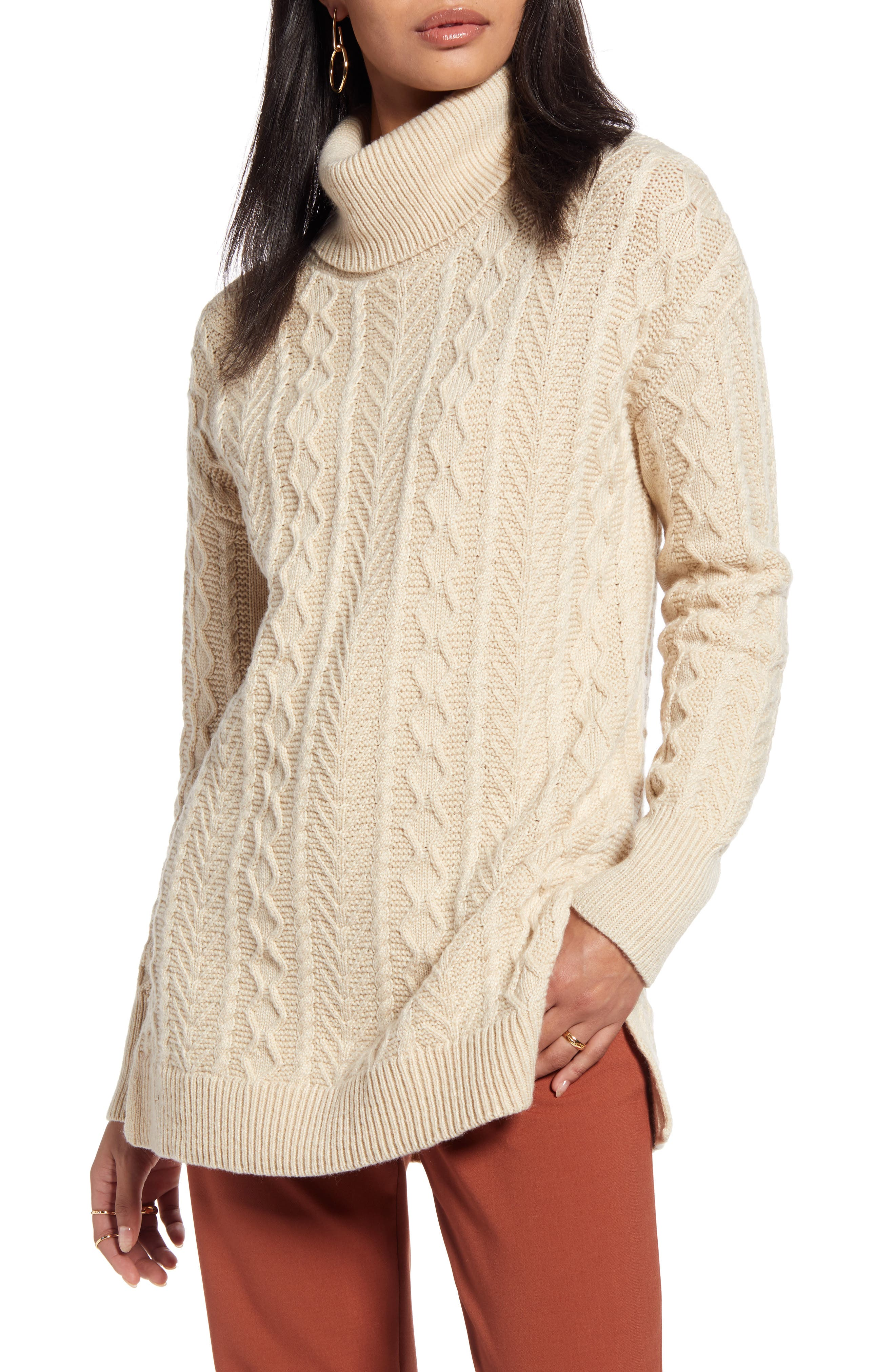 Halogen® Cable Turtleneck Tunic Sweater (Regular & Petite)