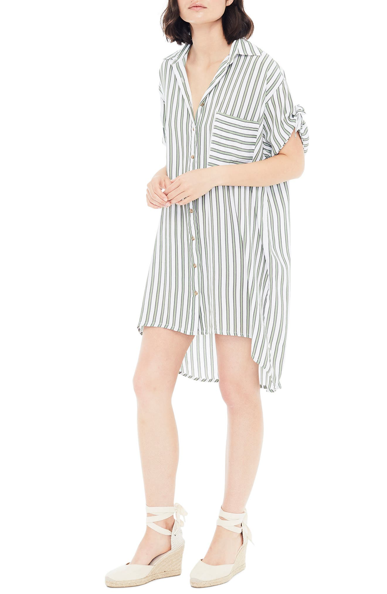 ,                             Porte Stripe Shirtdress,                             Alternate thumbnail 4, color,                             ALMERIA STRIPE PRINT
