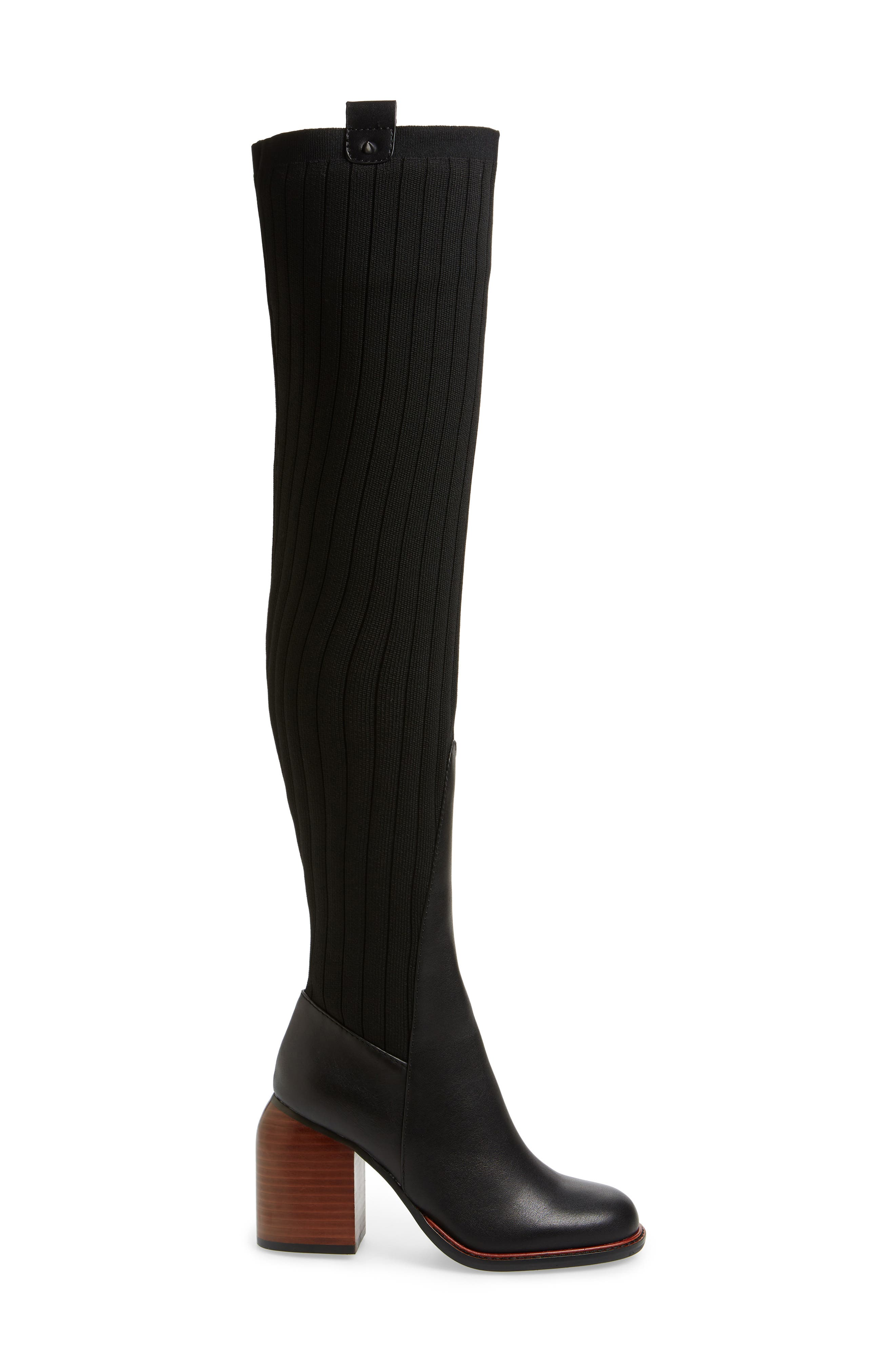 ,                             Over the Knee Knit Boot,                             Alternate thumbnail 3, color,                             001