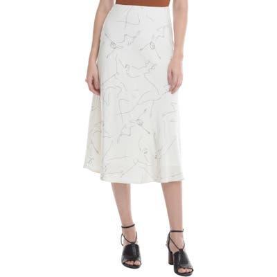 Astr The Label Pamela Print Bias Cut Midi Skirt, White