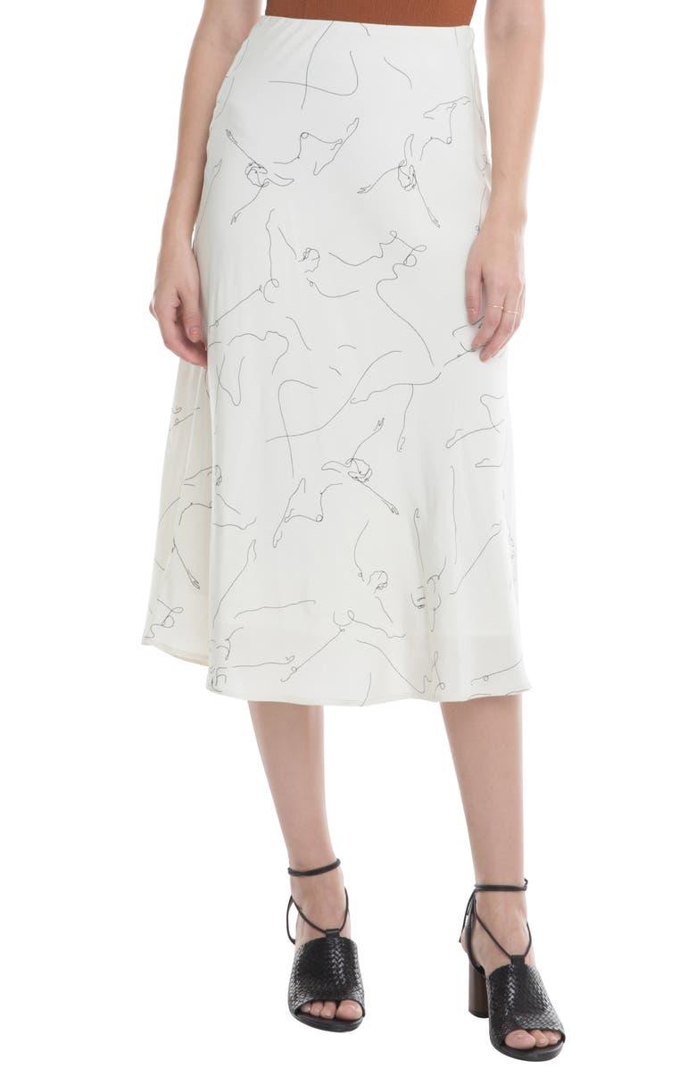 ASTR THE LABEL Pamela Print Bias Cut Midi Skirt, Main, color, BALLET SKETCH