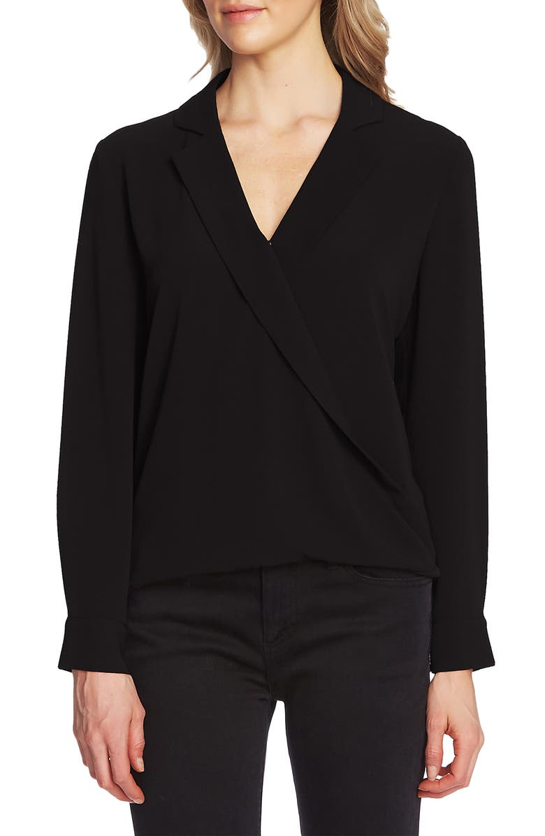 VINCE CAMUTO Faux Wrap Top, Main, color, RICH BLACK