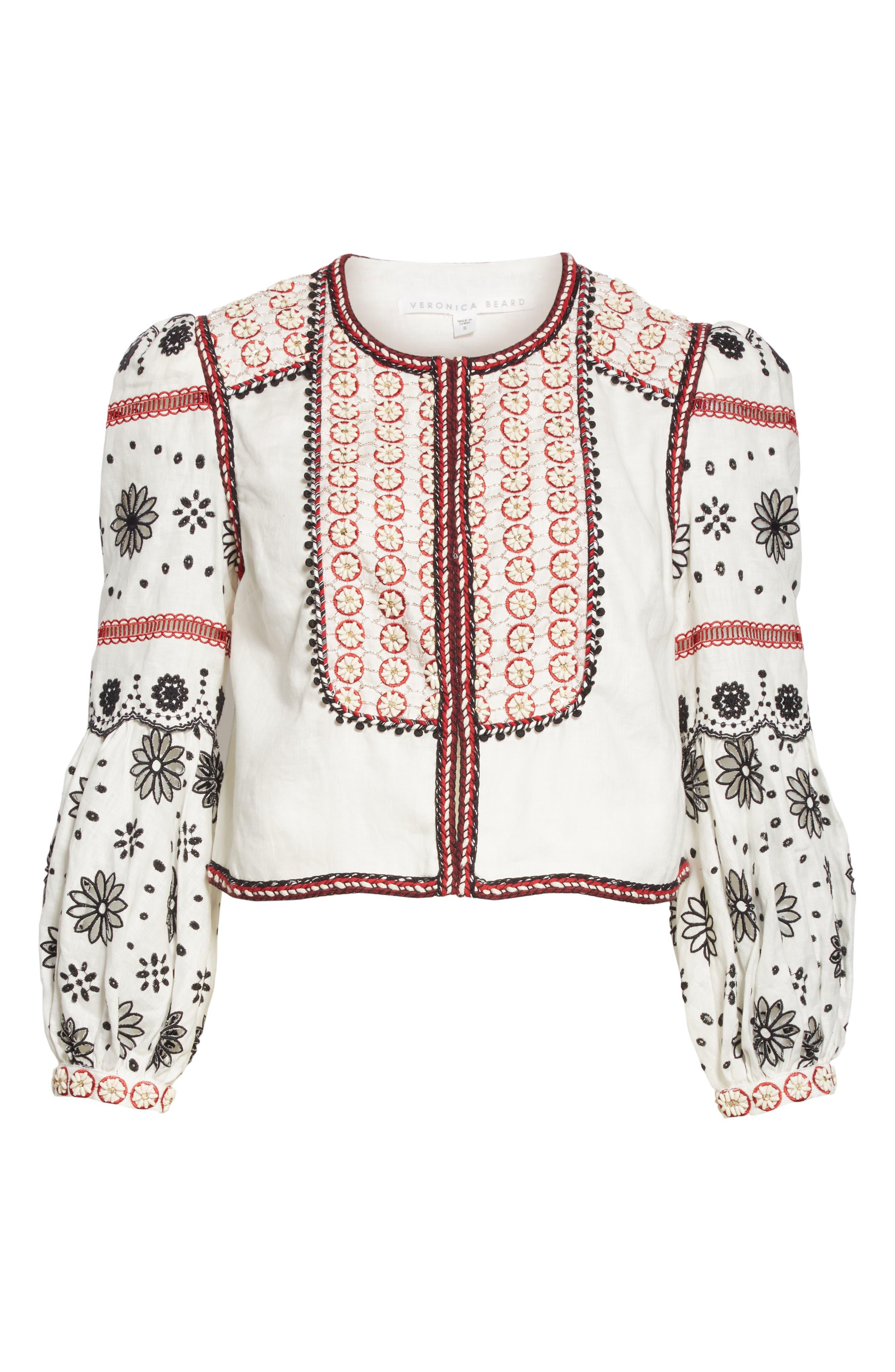 ,                             Shilin Embellished Linen Jacket,                             Alternate thumbnail 7, color,                             OFF-WHITE