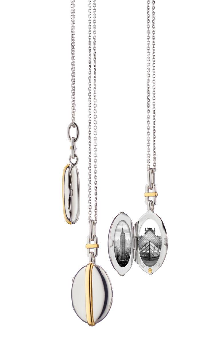 MONICA RICH KOSANN Slim Oval Locket Necklace, Main, color, YELLOW GOLD