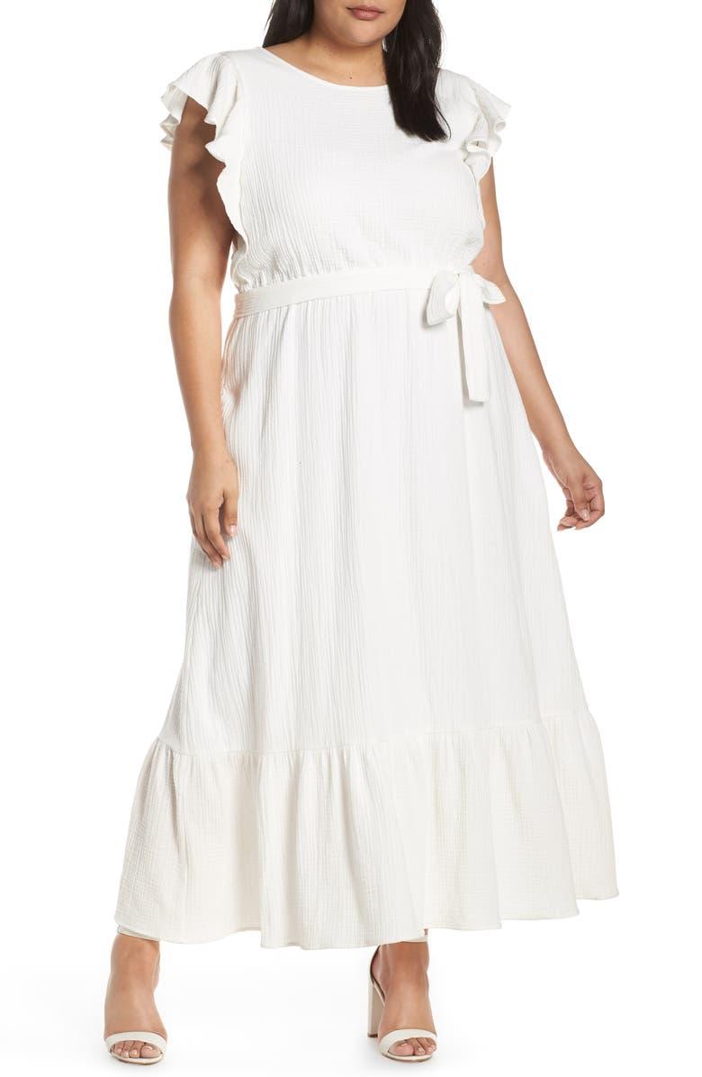 Chelsea28 Ruffle Sleeve Cotton Maxi Dress (Plus Size ...