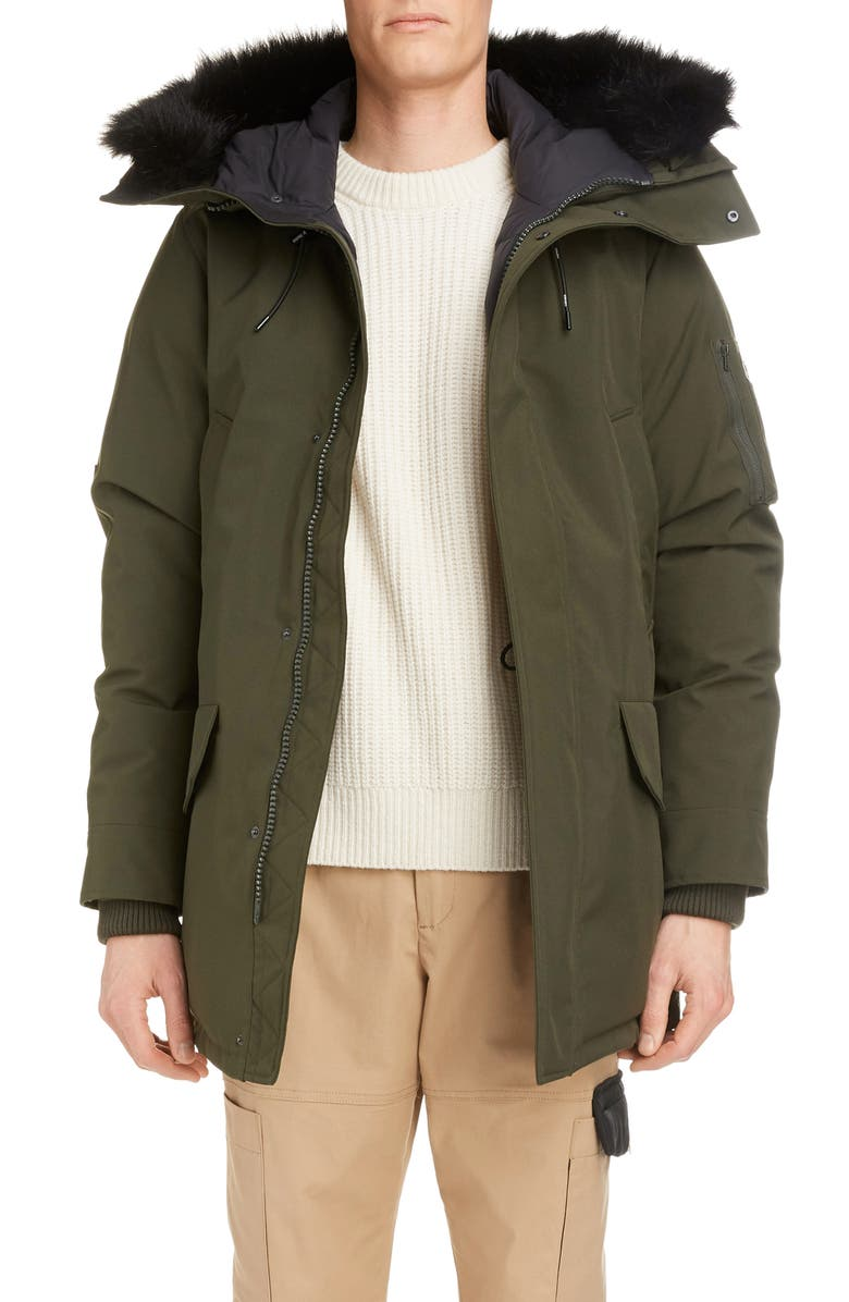 KENZO Faux Fur Trim Down Jacket, Main, color, DARK KHAKI