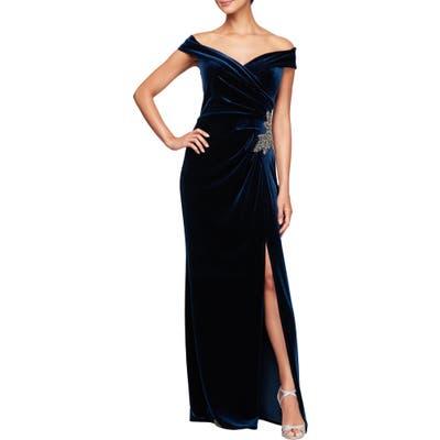 Alex Evenings Off The Shoulder Velvet Gown, Blue