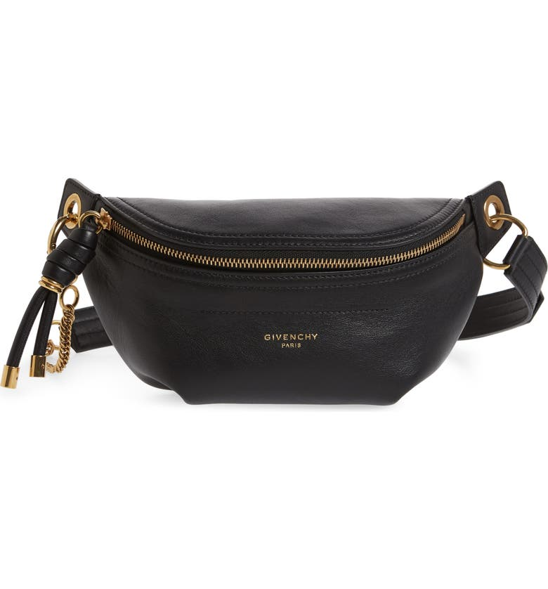 GIVENCHY Small Whip Leather Belt Bag, Main, color, BLACK