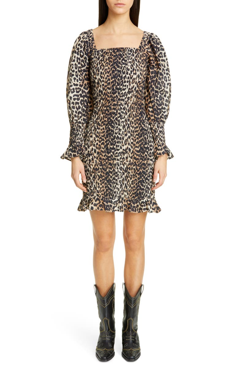 GANNI Leopard Print Long Sleeve Cotton & Silk Minidress, Main, color, LEOPARD