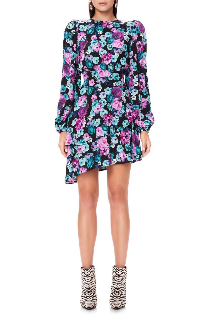 AFRM Parker Ruffle Back Cutout Long Sleeve Dress, Main, color, ELECTRIC GARDEN