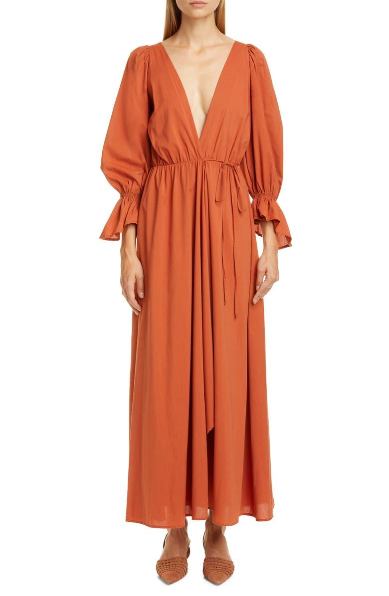 CULT GAIA Oona Long Sleeve Midi Dress, Main, color, RUST